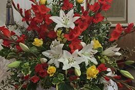 lilies & gladioli harvest flower display