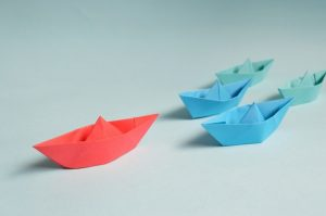 Coloured paper boats